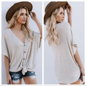 Short Sleeve Button Down Waffle Thermal - Oatmeal